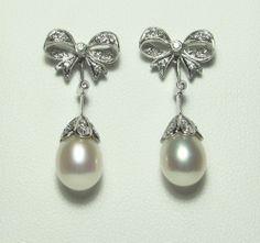 Pearl & diamond earrings available at Keswick Jewelers in Arlington Heights, IL 60005, www.keswickjewelers.com
