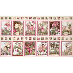 """Michael Miller Blossom Fairies 24"""" Panel Blossom from @fabricdotcom  Designed for Michael Miller Fabrics, this cotton print panel measures approximately 24"""" x 44"""". There are 12 fairies per panel and each fairy measures approximately 6.25"""" x 9"""". The rows of photos are separated by postage stamps of different flowers. The color palette includes brown, apple red, sage green, coral, peach, ivory and celadon green. Use for quilting and craft projects. This is a licensed fabric and not for…"""