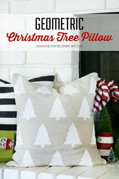 DIY Geometric Christmas Tree Pillow made with Cricut Explore -- The Crafted Sparrow. #DesignSpaceStar Round 5