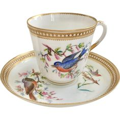 #VintageBeginsHere at www.rubylane.com @rubylanecom --Very rare Royal Worcester teacup with hand painted birds, ca 1868