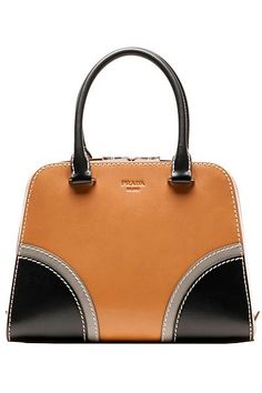 Prada ~ Spring Leather Satchel Tan+Black 2015