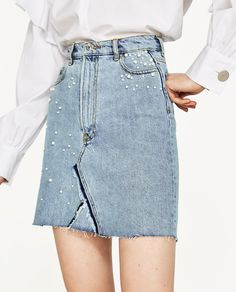 Image 2 of DENIM SKIRT WITH PEARL DETAILS from Zara