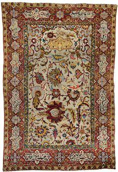 16th Century Safavid Carpet Silk & Metallic Threading