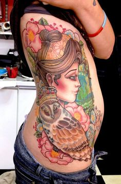 Neo traditional tattoo girl By Shakey Pete  Amazing tattoos by Shakey Pete and Iva The Fat Anchor 4A Albany Road Newquay, Cornwall If you are interested in having a tattoo by these two artists, please contact us at Fb page https://www.facebook.com/thefatanchor/