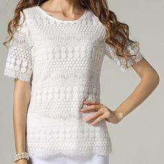 White Lace Crochet Blouse Brand nee Tops Blouses