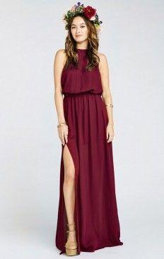 Heather Halter Dress ~ Red Wine Crisp