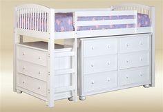 Jasper Twin White Loft Bed with Dresser, Chest