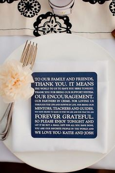 thoughtful thank you maybe do this instead of the menu card at each place setting