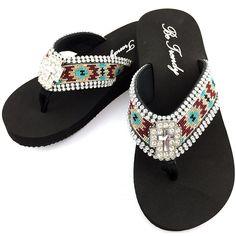 da688d4c0f832d Western Peak Women s Aztec Design Full Rhinestones Cross Concho Maroon  Turquoise Beige Flip Flop Sandals