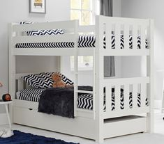 Purchase a Jubilee Wooden Bunk Bed in Surf White with Trundle at Room To Grow. We offer price match availability on the Jubilee Wooden Bunk Bed with Trundle & free delivery available Trundle Mattress, Bunk Bed With Trundle, Wooden Bunk Beds, Bed With Posts, Comfort Mattress, Childrens Beds, Bed Base, Under Bed Storage, New Beds
