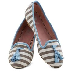 ModCloth Nautical Tea and Tassels Flat ($25) ❤ liked on Polyvore featuring shoes, flats, ballet flat, flat, varies, flat shoes, grey flats, loafers flats, ballet flat shoes and striped ballet flats