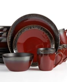 Gourmet Basics by Mikasa Calder Red Set Service for 4 - Dinnerware - Dining \u0026 Entertaining - Macy\u0027s  sc 1 st  Pinterest & Signature Living Barcelona Red 16-Piece. Set Service for 4 | Target ...