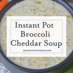 Instant Pot Panera Broccoli Cheddar Soup is the best copycat instant pot soup recipe. Made in less than 30 minutes, this broccoli cheddar soup tastes even better than your favorite Panera soup! Instant Pot Pressure Cooker, Pressure Cooker Recipes, Pressure Cooking, Gourmet Recipes, Crockpot Recipes, Cooking Recipes, Fast Recipes, Instapot Soup Recipes, Barbecue Recipes