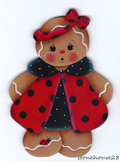 Ladybug Dress Gingerbread Painting E-Pattern by GingerbreadCuties Gingerbread Ornaments, Gingerbread Decorations, Christmas Gingerbread, Christmas Decorations, Christmas Ornaments, Christmas Rock, Christmas Projects, Wood Crafts, Diy And Crafts