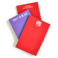 Large personalized Note Pads featuring white ink on Primary Paper- from Haute Papier