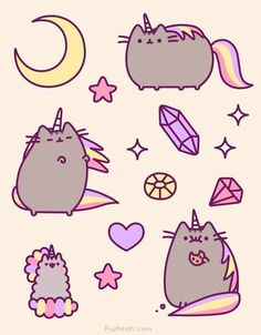 I've had a morbid curiosity about how Mr. Fat would look with the infamous inflatable cat unicorn horn. Pusheen is seriously fueling this curiosity. <-- this is just really funny Kawaii Pusheen, Gato Pusheen, Pusheen Love, Chat Kawaii, Kawaii Cat, Pusheen Stuff, Kawaii Shop, Unicorn Cat, Rainbow Unicorn