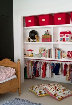 Love the neat look of this closet without doors.  Maybe for the little boys' double closets?  Those sliding mirrors have to go before someone gets hurt!