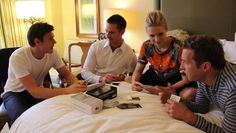 Chris Lowell, Jason Dohring, Kristen Bell & Ryan Hansen. Love that they're playing Cards Against Humanity.