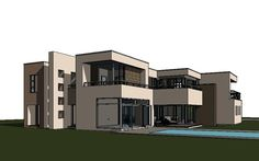 This modern 4 bedroom house plan features spacious rooms and spaces. A 643 sq meter, signature double storey house floor plan design with images. 6 Bedroom House Plans, 4 Bedroom House Designs, Beach House Plans, Garage House Plans, Flat Roof House, Facade House, Double Storey House Plans, Contemporary Beach House, Contemporary Design