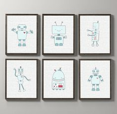 INSTANT DOWNLOAD: Set of 6 Robots Binary Code Art Prints. Robots with Hearts Wall Art. Nursery Decor.