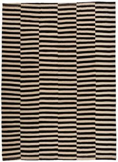 1723 Baneh Pure Wool Kilim 381x274cm... Interesting idea for a knit blanket. Why not let the stripes misalign?