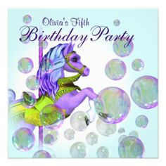 Shop Pink Bubbles Carousel Pony Girls Birthday Party Invitation created by InvitationCentral. Masquerade Invitations, Quinceanera Invitations, Birthday Party Invitations, Birthday Cards, My Little Pony Invitations, Sweet Sixteen Invitations, Custom Invitations, Personalized Invitations, Purple Birthday