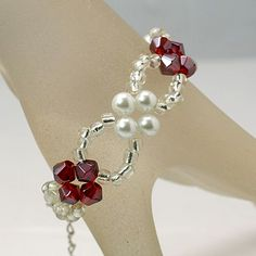 Pretty Glass Bracelet, with Glass Pearl Beads