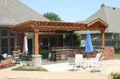 Covered Patio & Cedar Pergola - Outdoor Kitchens Photo Gallery - Archadeck of Fort Worth