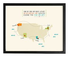 digital file Long distance friendship or family quote map personalized