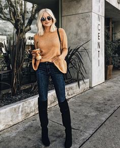 Bell Sleeve Top // Over-the-Knee Boots // Fall Outfits // Fall Fashion // Lemon Blonde