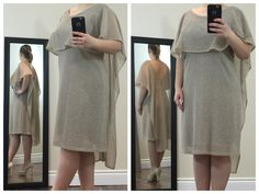 Elegant beige knee-length dress with a stunning cape neck and sleeve finish. The dress Is layered with a soft undergarment material to prevent body visibility & static, and is completed with a stunning open back cut.  Buy now at https://www.etsy.com/ca/shop/ClassyGiselleLauren?ref=hdr_shop_menu