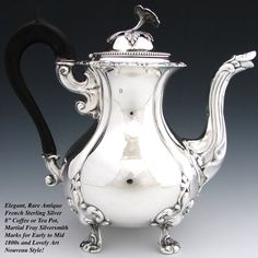 Antique French Sterling Silver 8 Coffee or Tea Pot, Aesthetic Style