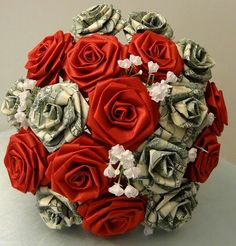 Money and rose bouquet.
