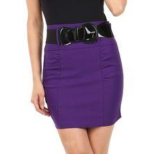 Sakkas Petite Shirred Stretch Pencil Short Skirt with Wide Belt Long Skirts For Women, Short Skirts, Women's Skirts, Fashion Outfits, Womens Fashion, Casual Outfits, Skirt Outfits, Stretches, Fashion Brands