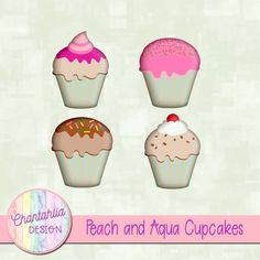 Free cupcake embellishments in peach and aqua. Use them in your digital scrapbooking or other digital design projects. 300 dpi #embellishment #digitalscrapbooking #digitalscrapbookingfreebies #design #designelement #clipart Digital Scrapbooking Freebies, Digital Papers, Design Projects, Craft Projects, Arts And Crafts, Paper Crafts, Pin Art, Planner Stickers, Scrapbook Paper