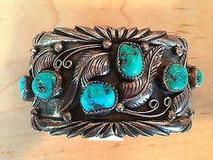 Vintage Native American Navajo Sterling Silver Wide Heavy Turquoise Bracelet | eBay