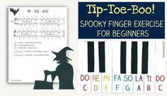 Tip -Toe Boo! Is a spooky finger exercise for piano beginners that builds finger strength and technique with a fun and spooky twist!: