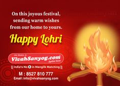 Vivahsanyog.com - Wishing a very Happy Lohri to you and your family. May the Lohri fire burn away all the sadness out of your life and bring you joy, happiness and love.  #Vivahsanyog #lohri #happylohri #lohri2018 #happylohri2018