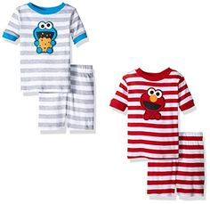 Sesame Street Toddler Boys' Elmo and Cookie Monster 4pc Pajama Short Set