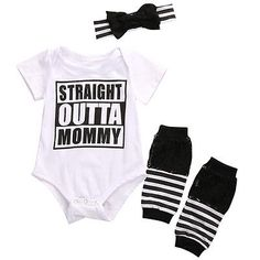 >> Click to Buy << 3PCs Newborn Baby Girls Boys OUTTA Bodysuit jumpsuit Tops +Stripe leg warmer+ Bowknot headband Outfits Clothes Set #Affiliate