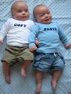 I have twins, but they are a boy and a girl.....this probably wouldn't have worked with them.  Still, this is so stinkin' funny!