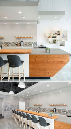 This modern coffee shop that serves hand poured coffees, has an large bar made from wood and a grey engineered stone countertop.