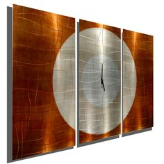 Large Contemporary Wall Clock with Orange, Silver & Copper Jewel Tone Fusion - Modern Metal Art Wall Home Accent - Hanging Wall Clock - Endless Time Clock by Jon Allen Large Metal Wall Clock, Modern Metal Wall Art, Copper Wall Art, Abstract Metal Wall Art, Metal Wall Decor, Wall Art Decor, Metal Art, Wall Decorations, Modern Art