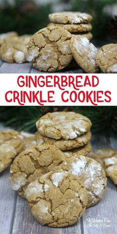 Gingerbread Crinkle Cookies are a Christmas recipe the whole family loves. The perfect treat for a holiday cookie exchange! Yummy Cookies, Holiday Cookies, Cupcake Cookies, Holiday Treats, Christmas Treats, Holiday Recipes, Cupcakes, Cookie Frosting, Cookie Pie