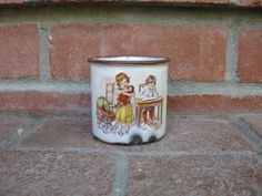 Sweet Antique Enamelware Child's or Baby Cup