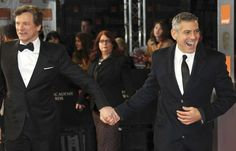Firth and Clooney running to make it to the award show in time.
