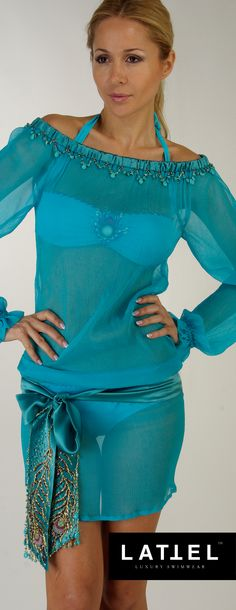 Turquoise tunic encrusted with genuine turquoise - chic by @Lattel_Swimwear