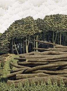 Tree Harvest, Garrowby - Simon Palmer (watercolour, ink and gouache) - Yorkshire. Contemporary Landscape, Landscape Art, Landscape Paintings, Landscapes, Tree Paintings, New Artists, British Artists, Lino Art, Environment Painting
