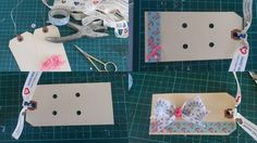 DIY Hair clip display cards.  Supplies - Shipping tags, washi tape, hole punch, ribbon, small bows or other embellishments, scissors and glue.