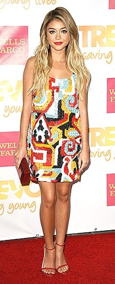 """Sarah Hyland chose a summery Dsquared2 beaded frock and Stuart Weitzman """"Nudist"""" sandals."""